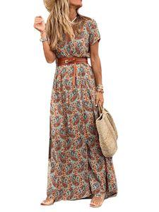 Damen V-Ausschnitt Schnürgürtel abnehmen Kleid Strand Urlaub Rock,Farbe: braun,Größe:XL