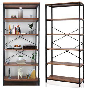 Bücherregal mit 5 Ablagen Vintage Regale 180 x 80.3 x 30 cm einfacher Aufbau stabiles Standregal im Industrie-Design Wohnzimmerregal