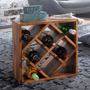 WOHNLING Weinregal WL5.673 Sheesham Massivholz 40x40x25cm Holzregal 8 Flaschen | Kleines Flaschenregal Standregal schmal | Design Getränkehalter Holz | Weinflaschenhalter stehend massiv | Regal