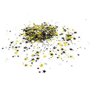 Oblique Unique Stern Konfetti 300 Stk Tischdeko Geburtstag Party Silvester Fasching Karneval - schwarz gold silber
