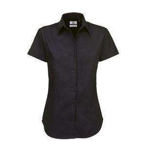 B&C Damen Sharp Twill Kurzarm Bluse BC124 (XS) (Schwarz)