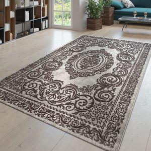 Kurzflor Teppich Wohnzimmer 3D Optik Orientalisches Design Ormanete Grau Creme, Größe:200x290 cm