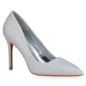 Giralin Damen Spitze Pumps Stiletto Party Glitzer Schuhe 836312, Farbe: Silber, Größe: 38