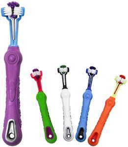 5er-Pack Hundezahnbürsten, Haustierbürste mit drei Köpfen, für die mehrwinklige Zahnreinigung von Katzen und Hunden