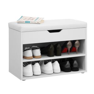 VASAGLE Schuhschrank mit Klappdeckel und gepolstertem Sitz Schuhbank 60 x 30 x 44 cm Schuhregal Schuhorganizer Weiß LHS20WT