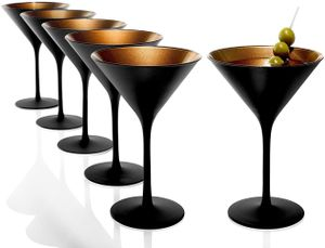 Stölzle Lausitz Martini Cocktailgläser Coktailschale Grandezza 240ml schwarz matt und kupfer 1400025