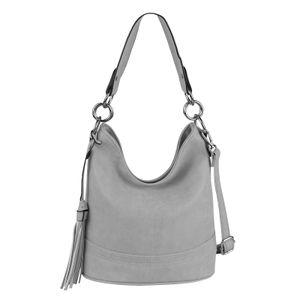 DAMEN TASCHE HOBO-BAG Shopper Umhängetasche Handtasche Schultertasche Henkeltasche Beuteltasche CrossOver Tote-Bag Hellgrau