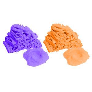 200 Stück Vlieshaube Baretthauben Einweg Kopfhauben Haarnetz Hauben Elastisch Einwegkappe 19 Zoll Lila + Orange