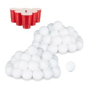 relaxdays 96x Beer Pong Bälle, Plastikbälle, Wurfbälle, Ping Pong Bälle, Tischtennisbälle
