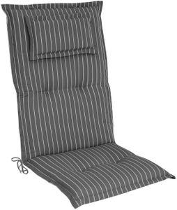 elGiga Hochlehner-Auflage Classic Grau Weiß gestreift 120 x 50 x 8 cm für Gartenstuhl, mit Kopfpolster, hochwertig, waschbar und pflegeleicht