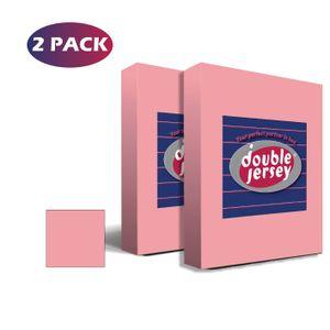 Double Jersey - 2er Set Spannbettlaken für Babybett und Kinderbett, 100% Baumwolle, 70x140+20 cm - Rosa