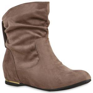 Mytrendshoe Damen Schlupfstiefel Nieten Metallic Stiefeletten 812500, Farbe: Khaki, Größe: 40