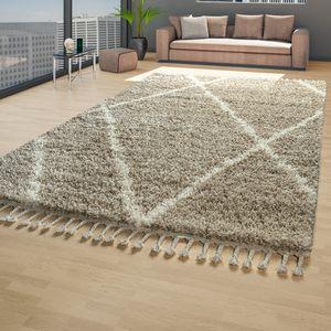 Skandi Teppich Wohnzimmer Beige Creme Hochflor Shaggy Rauten Fransen Weich, Größe:160x220 cm