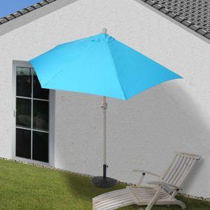 Sonnenschirm halbrund Parla, Halbschirm Balkonschirm, UV 50+ Polyester/Alu 3kg  270cm türkis mit Ständer