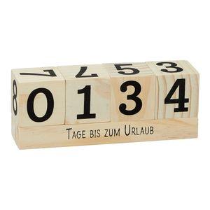"""Countdown Würfel """"Natur"""" aus Holz, 16x6cm, Urlaub, Weihnachten, Geburt, Geburtstag, Ruhestand, Prüfung"""