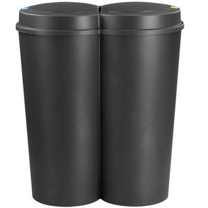 Deuba Mülleimer 50 L Duo 2fach Trennsystem 2x25L Druckknopf-Automatik Küche Abfalleimer Müllbehälter Mülltrennung Büro, Farbe:schwarz - black - noir