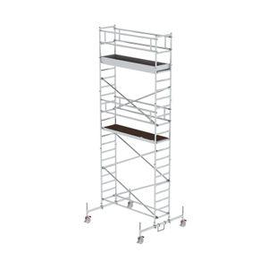Günzburger Steigtechnik Rollgerüst 0,75 x 2,45 m mit Plattform im 2-m-Abstand & Fahrbalken Plattformhöhe 5,45 m