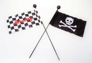Filmer 40156 Fahrrad Fahne - Style - 113cm lang - Piraten Totenkopf oder Racing Flag
