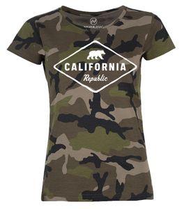 Damen Camo-Shirt California Republic Bear Badge Bär Sunshine State USA Camouflage T-Shirt Tarnmuster Neverless® schwarz S