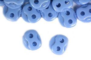 10 Kordelstopper mit zwei Löchern 20x20mm, Durchzug 5mm, Farbe:babyblau