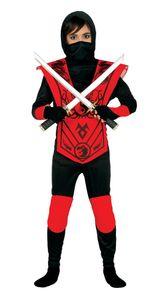 Fiestas Guirca ninja Kostüm Jungen rot/schwarz Größe 98/104