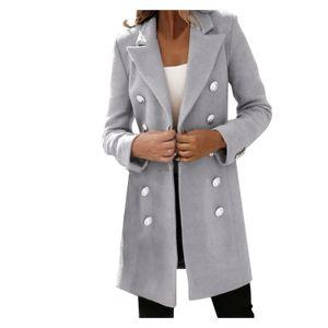 Frau künstliche Wolle elegante Mischung Mantel schlanke weibliche lange Mantel Oberbekleidung Jacke Größe:XL,Farbe:Grau