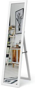 COSTWAY 2 IN 1 Ganzkörperspiegel, Standspiegel mit Holzrahmen, Ankleidespiegel 37 x 155cm, Garderobenspiegel für Schlafzimmer, Wohnzimmer und Eingangsbereich Weiß