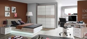 Jugendzimmer Rondino in Sandeiche und Weiß hochglanz 5 teiliges Komplettset