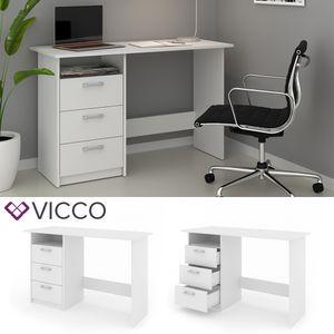 VICCO Schreibtisch MEIKO Weiß Arbeitstisch Bürotisch Regal PC Tisch Schubladen