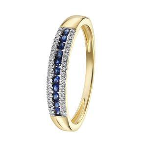 Ring, 750 Gelbgold, Saphir, Diamant 0,06 kt