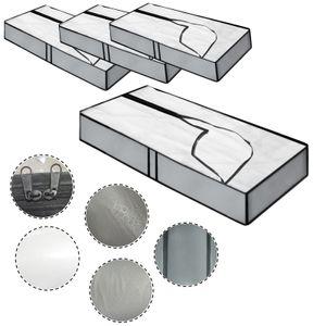 4 x Unterbettkommoden mit Reißverschluss 102 x 45 x 15 cm Kleideraufbewahrung Atmungsaktiv mit Sichtfenster Platzsparende Unterbett Aufbewahrungstasche für Bettdecken, Bettwäsche, Kissen und Kleidung