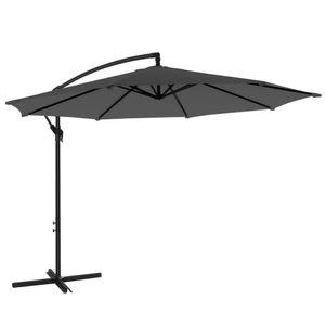 SONGMICS Sonnenschirm, Ampelschirm Ø 300 cm, UV-Schutz bis UPF 50+, mit Kurbel zum Öffnen und Schließen, Sonnenschutz, Gartenschirm, grau GPU016G01