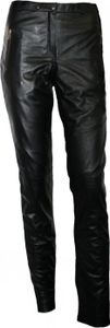 German Wear, Damen Lederhose aus Lammnappa Leder Leggings mit Elasthan echtleder Hose schwarz, Größe:L
