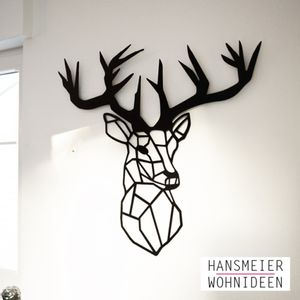 Hansmeier | Hirsch-Wanddeko aus Metall | 83 x 93 cm | Geweih Deko