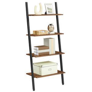 VASAGLE Bücherregal mit 4 Ebenen 150 x 64 x 34cm Metallrahmen Leiterregal Wandregal stabil Industrie Design Standregal  Vintage LLS43BX