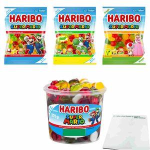 Haribo Super Mario Testpaket 2 (je 1x175g Beutel Fruchtgummi, Sauer & Veggie + 1x570g Runddose) + usy Block