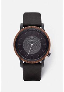 Kerbholz Herren Holzuhr Solar-Uhr mit Echt Lederband Masterpieces Kollektion - Fred Solar Walnut Midnight Black