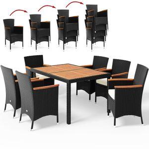 Casaria Poly Rattan 6+1 Sitzgruppe Stapelbare Stühle 7cm dicke Auflagen Gartentisch Armlehnen Holz Gartenmöbel Sitzgarnitur Garten Set - Schwarz