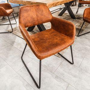 Design Stuhl MUSTANG antik braun Microfaser mit Armlehne Esszimmerstuhl Armlehnenstuhl