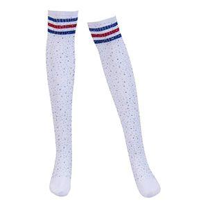 Dame Streifen über Kniestrümpfe Cosplay Lange Party Socken Beinwärmer Weiß Mit Rot Blauen Streifen Funkeln freie Größe Weiß mit rotem blauem Streifen Über Knie-Schenkel-hohe Strümpfe