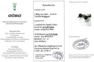 Saphir Weißgold 750 Ring Lady Di Look Antik 1960 10 Brillanten 0,30ct TW/VSI 1 Saphir 1 ct  Gr.17,