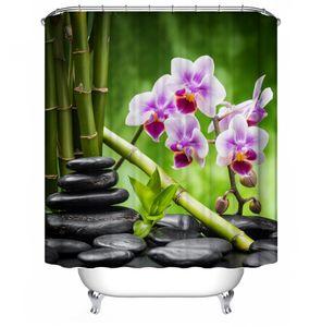 Bambus & Kiesel Druck Badezimmer Dekoration Wasserdichter Duschvorhang