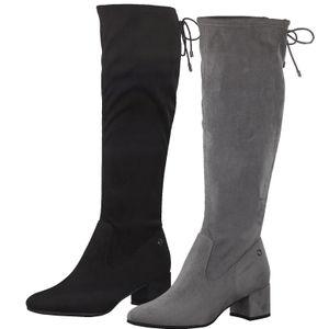 Tamaris Damen Stiefel Langschaft Stretchschaft 1-25505-25, Größe:38 EU, Farbe:Schwarz