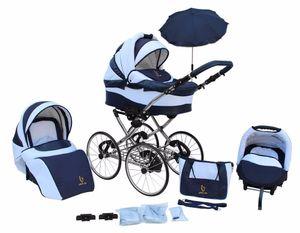 Kinderwagen AmberLine Classica Retro NAVY, 3 in 1- Set Wanne Buggy Babyschale