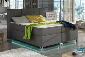 Boxspringbett Polsterbett Bett Bettkasten LED 160x200 Kunstleder grau