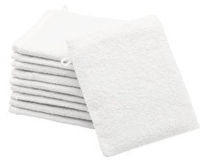 10er Set Waschlappen aus Baumwolle, 16x21 cm, weiß