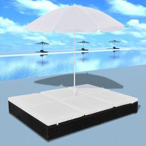 yoamall Outdoor-Loungebett mit Sonnenschirm Poly Rattan Schwarz