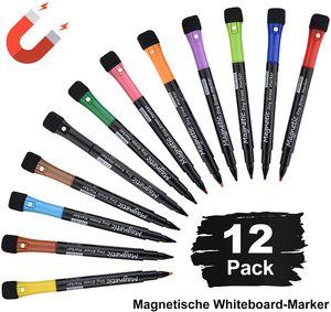 Whiteboard Marker 12er Pack, schwamm Whiteboard stifte,Magnetisch Whiteboard Marker Schwamm mit Stiften, Trocken Abwischbar, Rundspitze 1-2mm, Perfekt für Zuhause Schule Büro