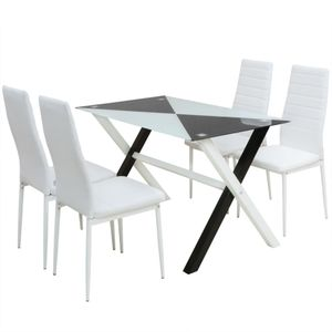 5-tlg. Essgruppe Esstisch und Stühle Kunstleder
