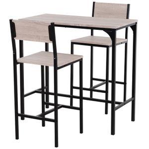 HOMCOM Bartisch mit 2 Stühlen, 3-teiliges Tischset, Barstuhl, Barhocker, MDF, Natur, Schwarz, 89 x 45 x 87 cm